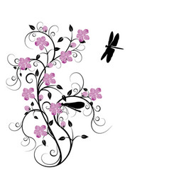 Flowers and dragonflies 4 vector