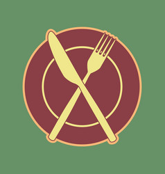 Fork knife and plate sign cordovan icon vector