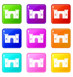 Fortress with gate icons 9 set vector