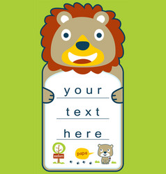funny animal cartoon character on paper or board vector image
