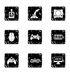 Game console icons set grunge style vector