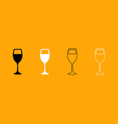 glass of wine black and white set icon vector image