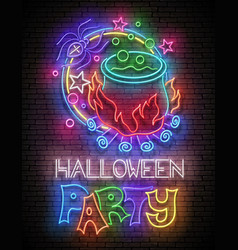 glow halloween greeting card with potion in vector image