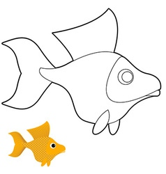 Goldfish coloring book fantastic yellow fish vector