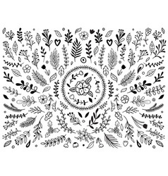 Hand drawn flowers ornament ornamental sketch vector
