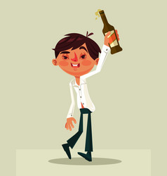 happy smiling drunk office worker man character vector image