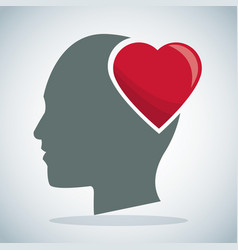 Human head heart brain vector