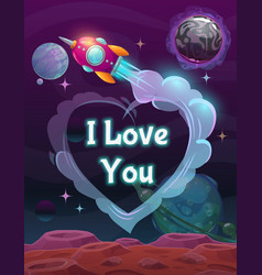 i love you sign on space background vector image