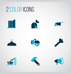 Industry icons colored set with milling machine vector