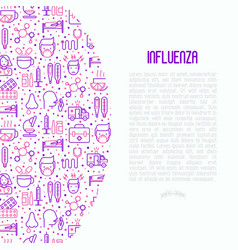 influenza concept with thin line icons vector image