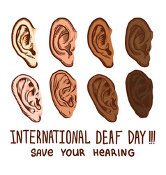 International deaf day icon set hand drawn style vector
