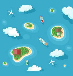 Islands top view with boats vector