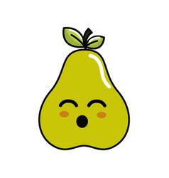 Kawaii cute happy pear fruit vector