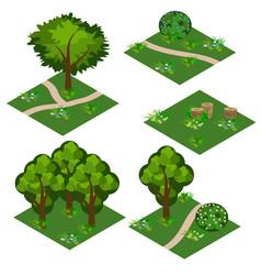 landscape isometric tile set cartoon or game asset vector image