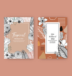 Line art tropical frame design with flowers vector