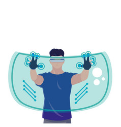 Man using technology augmented reality vector
