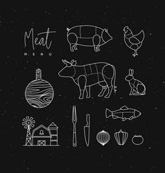 meat menu flat design elements black vector image