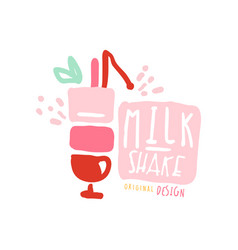 Milk shake logo template in pink colors badge for vector