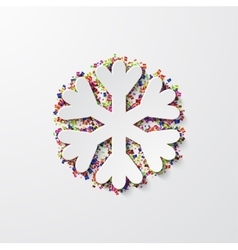 modern snowflake with confetti on white vector image
