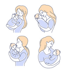 motherhood mother and child mom looking at baby vector image