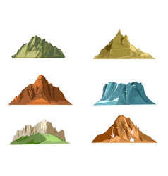 Nature landscapes with green hills and snow vector