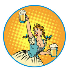 oktoberfest beer woman waitress in traditional vector image