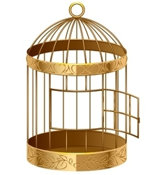 Open gold birdcage an empty birdcage vector