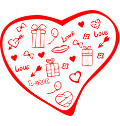 Painted heart with items for st valentines day vector