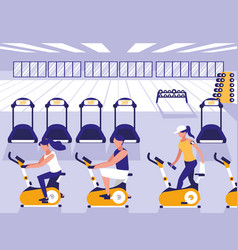 people riding spinning bicycle in sport gym vector image