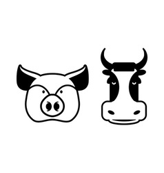 Pig and cow icons Head farm animal stencil Pork vector