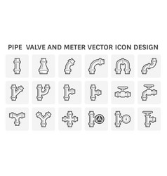 Pipe valve and meter for industrial work icon vector