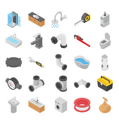 plumber toilet bath shower isometric icons vector image