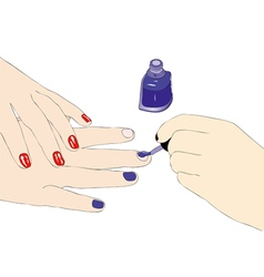 Proof of nail polish in a beauty salon vector image