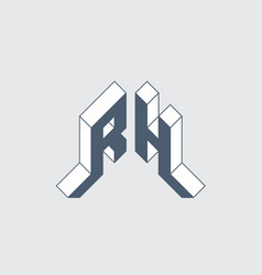 r and h - monogram or logotype isometric 3d font vector image