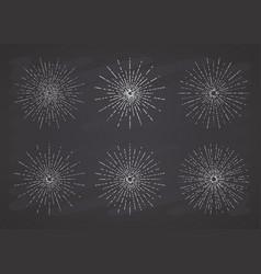 retro sun bursts set vintage radiant sun rays vector image