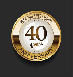 Retro vintage style anniversary golden design 40 vector