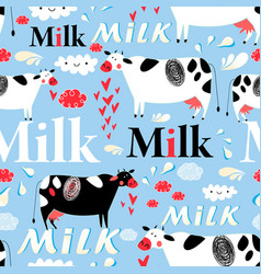 seamless advertising pattern with cows and vector image