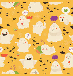 seamless pattern ghosts emoticon halloween vector image