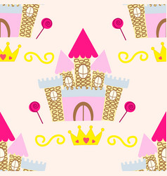 Seamless pattern with sweet home princess vector