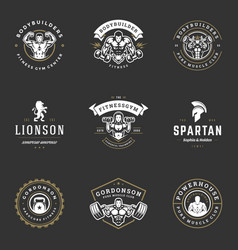 Set fitness center and sport gym logos and badges vector