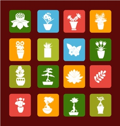set icons of Plant silhouette collection vector image