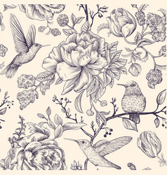 Sketch pattern with birds and flowers vector