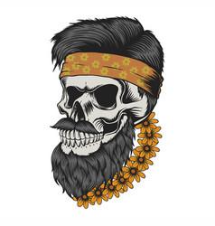 skull beard mustache flower vector image
