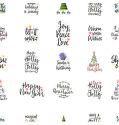 slogans for the new year seamless pattern vector image