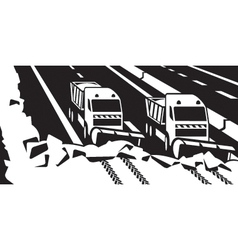 Snow plow trucks clear highway vector image