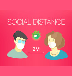 Social distance banner with people and text vector