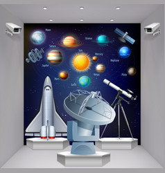 space museum realistic composition vector image