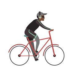 sport man on bicycle cyclist african guy vector image