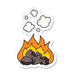 Sticker of a cartoon hot coals vector