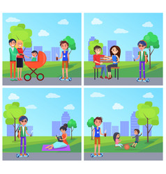 Students in park and people family set vector